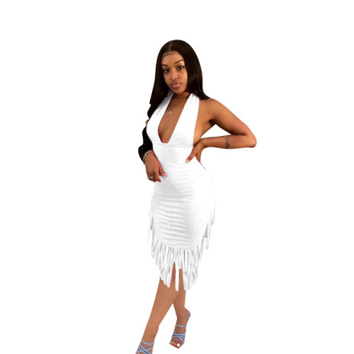 White  Halter Fringe Halter Dress
