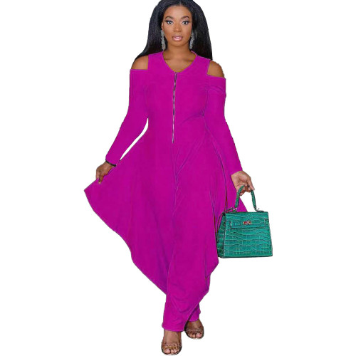 Rose red Solid color strapless long-sleeved fashion loose jumpsuit