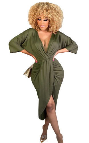Army green Pure color pleated casual dress