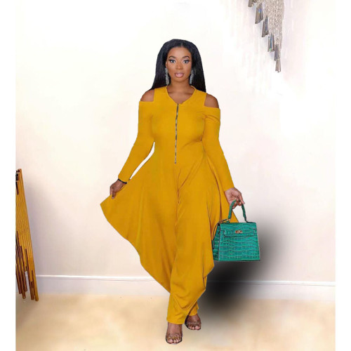 Yellow Solid color strapless long-sleeved fashion loose jumpsuit