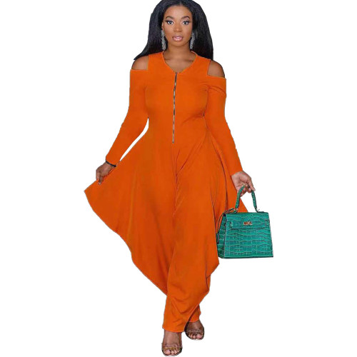 Orange Solid color strapless long-sleeved fashion loose jumpsuit