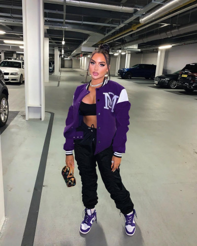 Purple Sexy women's solid color stitching letter offset printing baseball uniform jacket