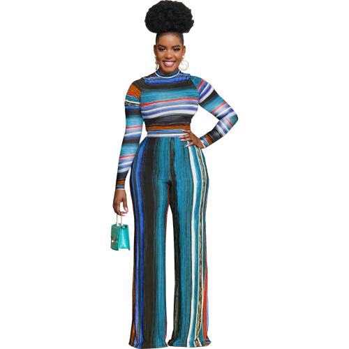 Bule Women's fashion loose multicolor casual two-piece suit