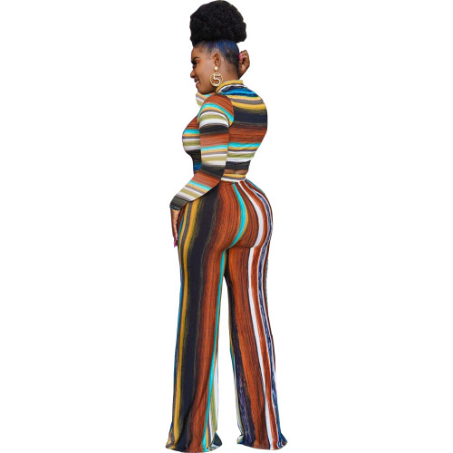 Brown Women's fashion loose multicolor casual two-piece suit