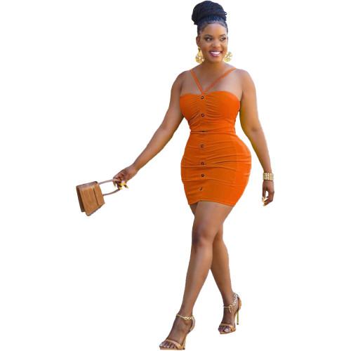 Orange Fashion solid color suspender halter dress