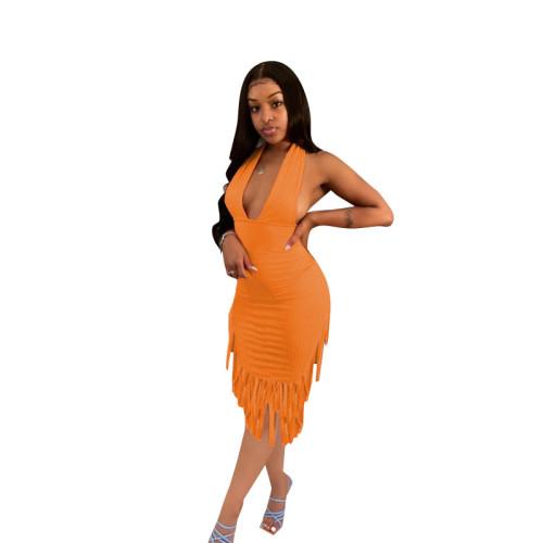 Orange  Halter Fringe Halter Dress