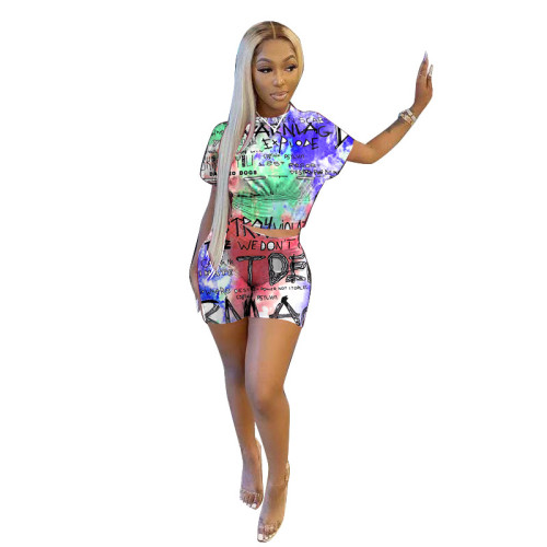 Blue  Graphic printing fashion casual two-piece suit