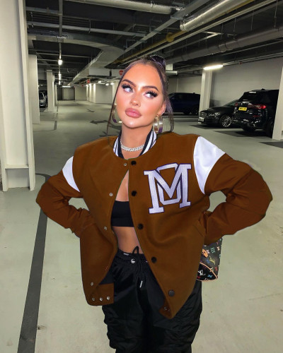 Brown Sexy women's solid color stitching letter offset printing baseball uniform jacket