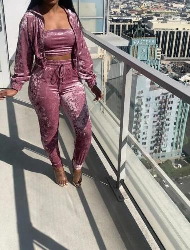 Dark pink Sexy women's three-piece solid color hooded elasticated three-piece suit