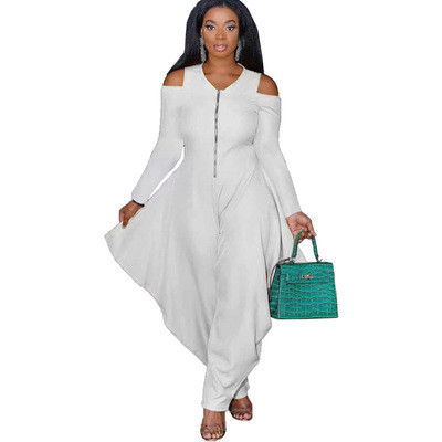 Solid color strapless long-sleeved fashion loose jumpsuit