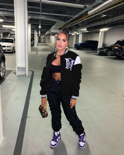 Black Sexy women's solid color stitching letter offset printing baseball uniform jacket
