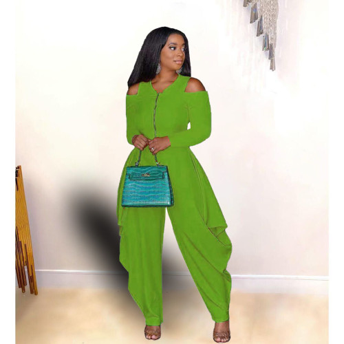 Green Solid color strapless long-sleeved fashion loose jumpsuit