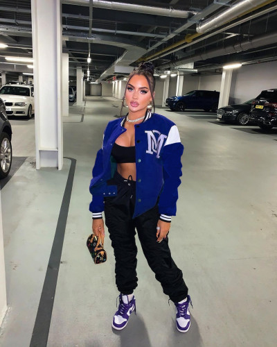 Dark bule Sexy women's solid color stitching letter offset printing baseball uniform jacket
