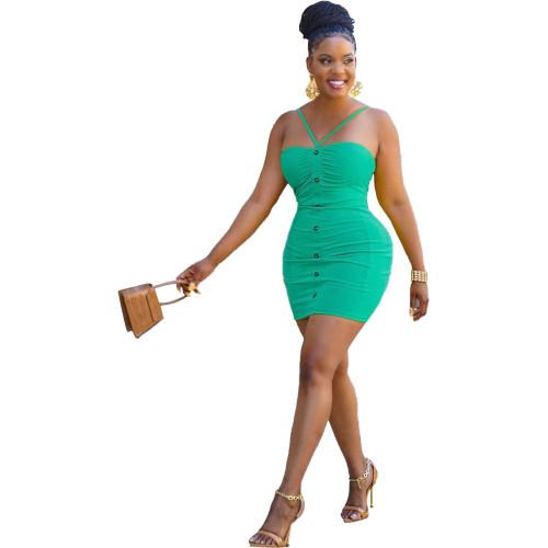 Green Fashion solid color suspender halter dress