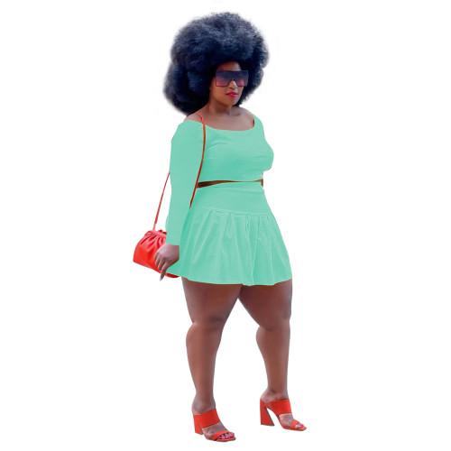 Light green Two-piece cute pleated skirt short top