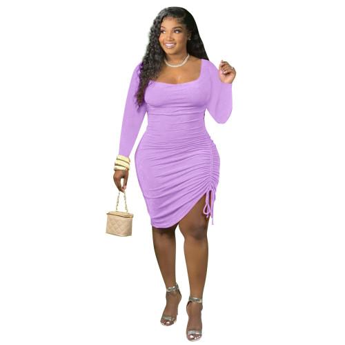 Purple Long-sleeved unilateral pleated fashion dress