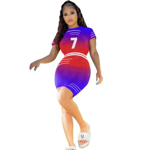 Red   Digital multicolor gradient positioning printing dress