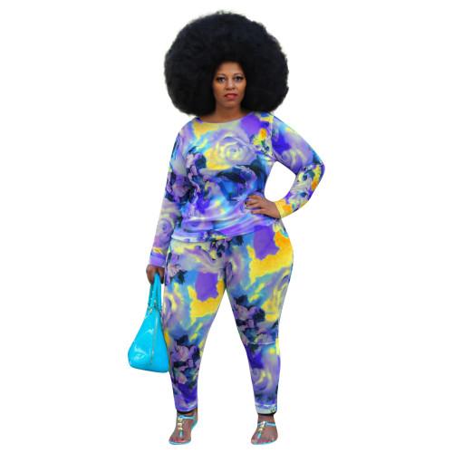 Bule Color printing plus size long sleeve two-piece suit