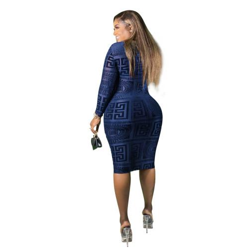 Stretch mesh print see-through sexy slim dress