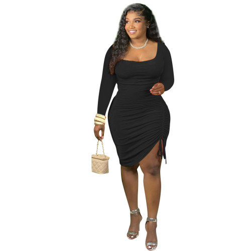 Black Long-sleeved unilateral pleated fashion dress