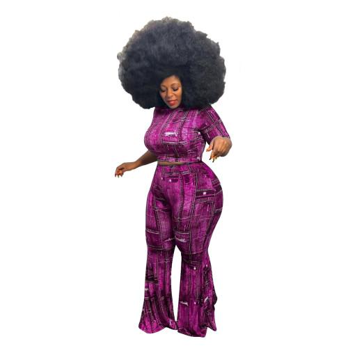 Purple Denim print plus size sexy two-piece suit