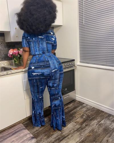 Bule Denim print plus size sexy two-piece suit