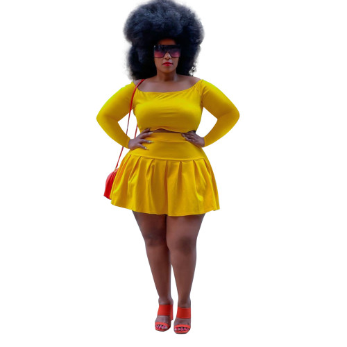 Yellow Two-piece cute pleated skirt short top