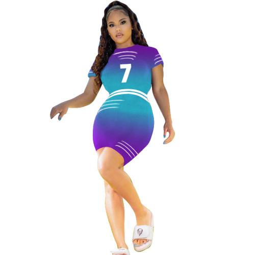 Blue   Digital multicolor gradient positioning printing dress