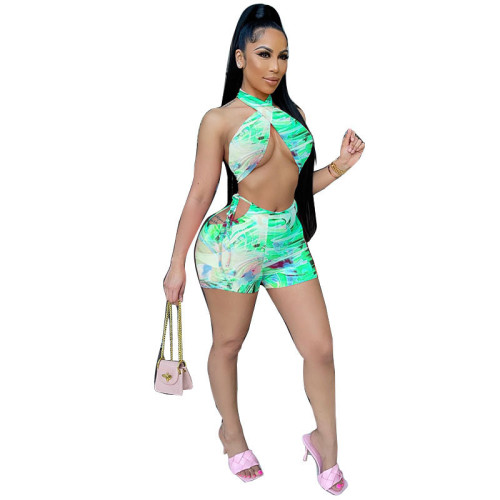 Green   Hollow tether halter neck positioning printing suit
