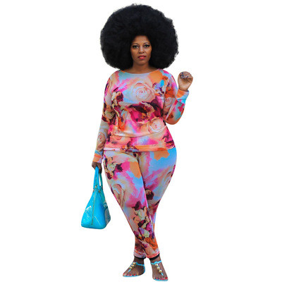 Color printing plus size long sleeve two-piece suit