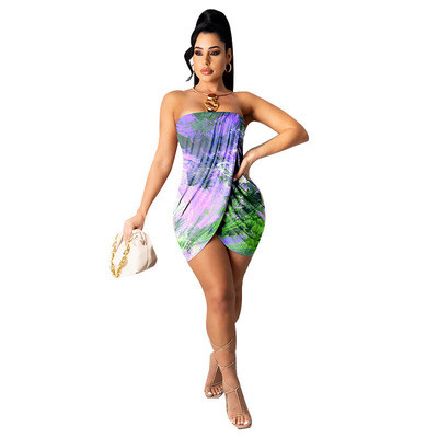 Purple   Wrapped chest printed sexy dress one-piece dress
