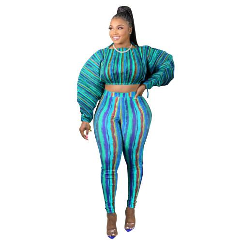 Bule Printed lantern sleeve drawstring leisure two-piece suit