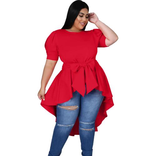Red Fashionable Women's Bowknot Irregular Hem Dress