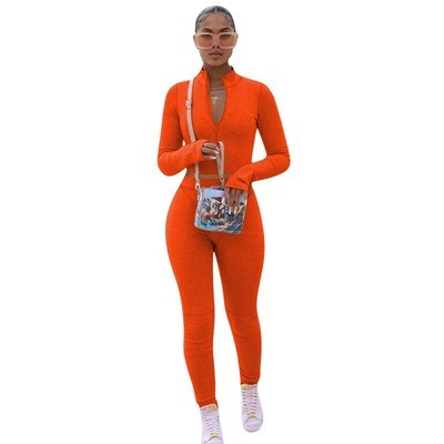 Orange  Solid color hoodie fleece long-sleeved multicolor sports two-piece suit