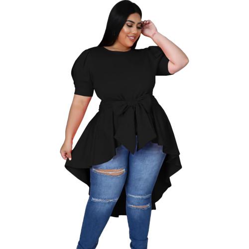 Black Fashionable Women's Bowknot Irregular Hem Dress