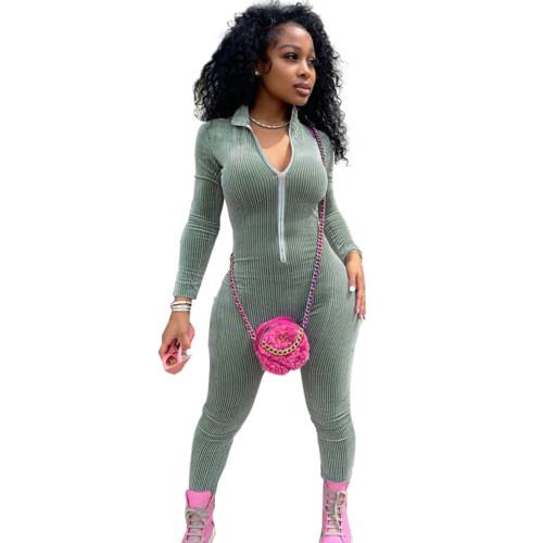 Green Plush zipper jumpsuit