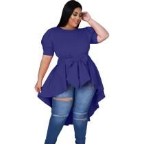 Bule Fashionable Women's Bowknot Irregular Hem Dress