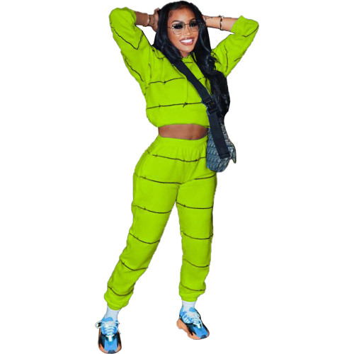 Green Positioning sweater casual two-piece suit