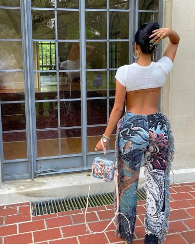 Oil painting anthropomorphic ocean positioning printing fashion color fringed trousers