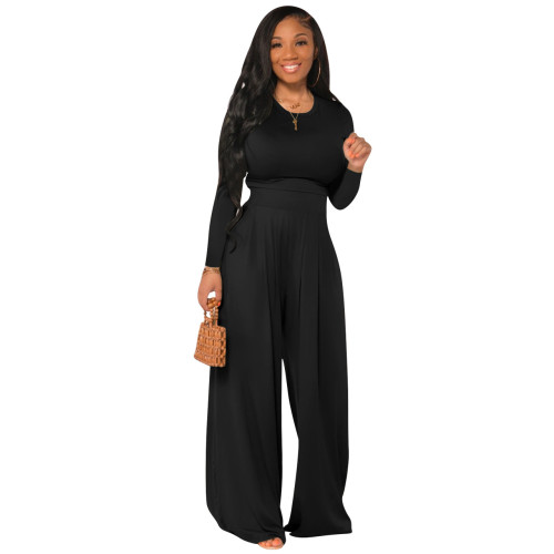 Black Fashion all-match casual wide-leg two-piece suit