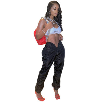 Pure color memory fabric with open umbilical love opening pockets on both sides with zipper casual pants
