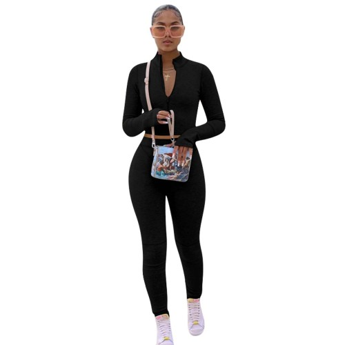 Black   Solid color hoodie fleece long-sleeved multicolor sports two-piece suit