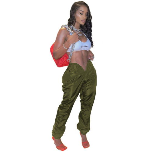 Army green Pure color memory fabric with open umbilical love opening pockets on both sides with zipper casual pants