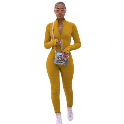 Yellow  Solid color hoodie fleece long-sleeved multicolor sports two-piece suit