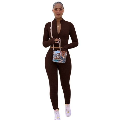 Coffee    Solid color hoodie fleece long-sleeved multicolor sports two-piece suit