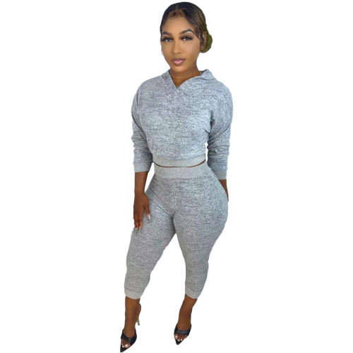 Gray Hooded knitted sweater two-piece elastic waist trousers