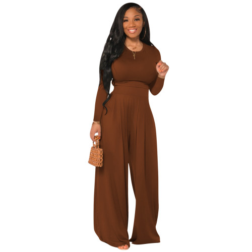 Red  Fashion all-match casual wide-leg two-piece suit