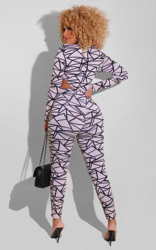 Women's irregular printing two-piece suit
