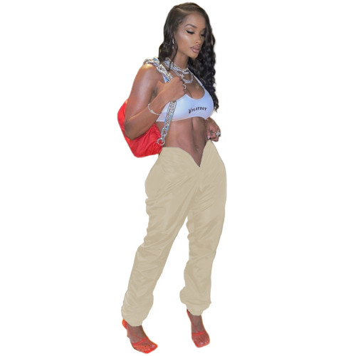 Khaki Pure color memory fabric with open umbilical love opening pockets on both sides with zipper casual pants