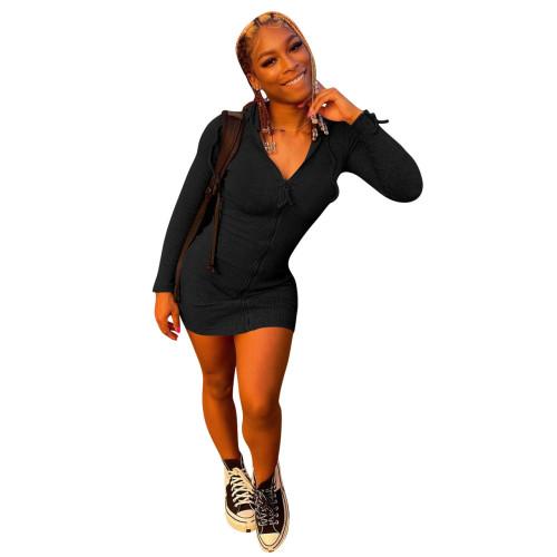 Black   Hang strip sexy fashion solid color dress